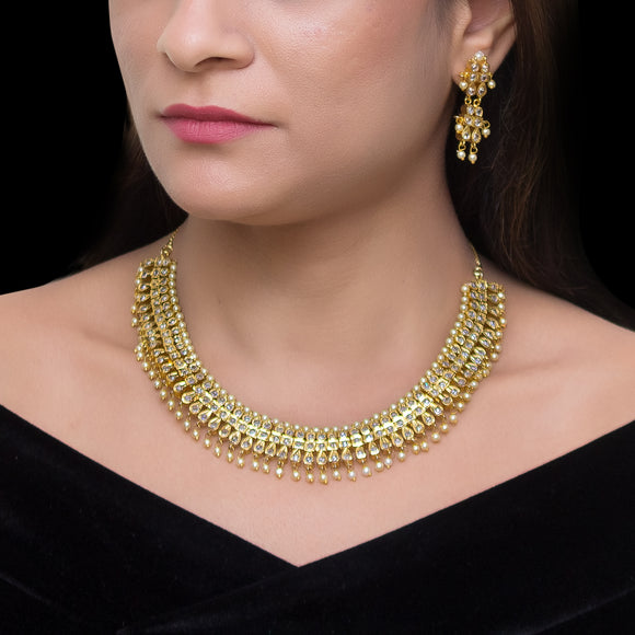 Gold Plated Sparking Kundan Studded Necklace set for Women - The Pink Lane