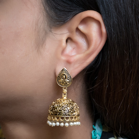 Beautiful Peacock Gold Plated Earrings - The Pink Lane