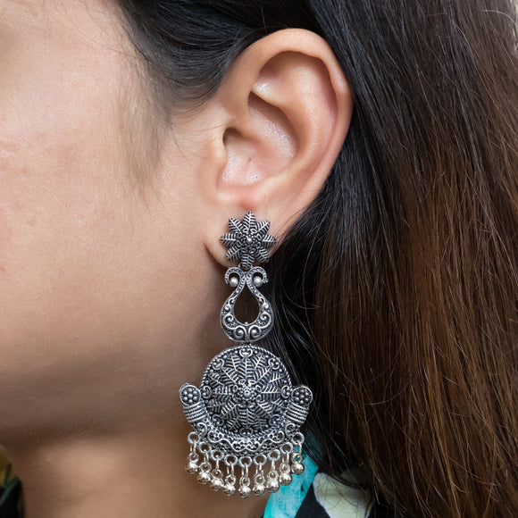 Floral Oxidized Silver Earrings - The Pink Lane