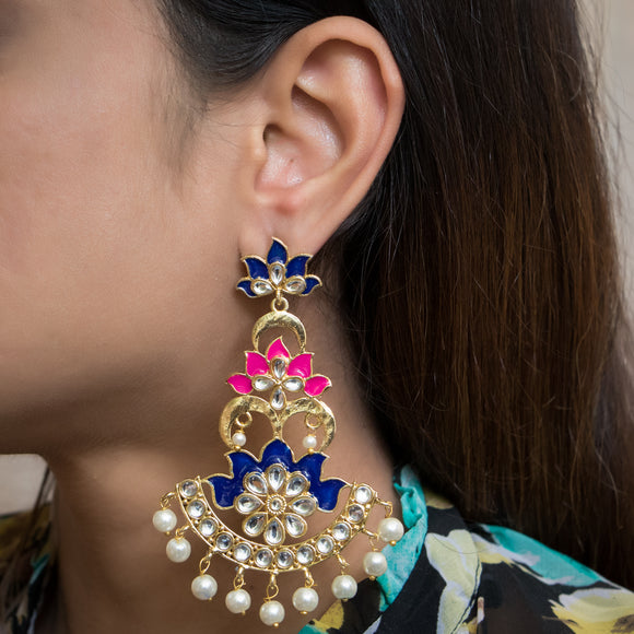 Traditional Pink and Blue kundan Earrings - The Pink Lane