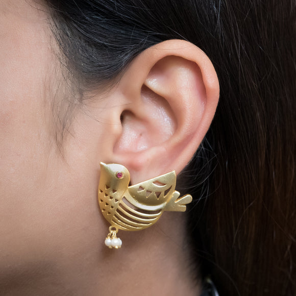Gold Plated Bird Earrings - The Pink Lane
