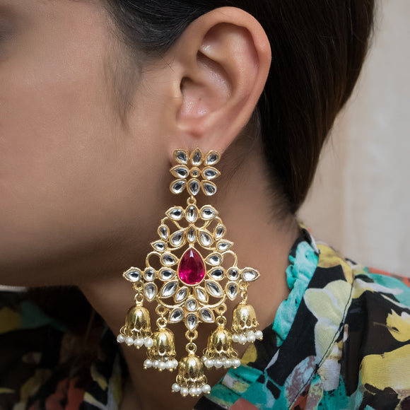 Traditional Gold Plated Kundan Earrings - The Pink Lane