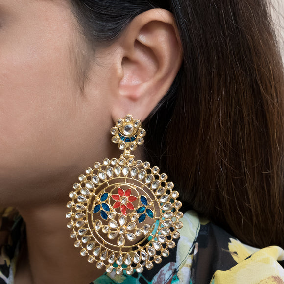 Traditional Pink and Blue Gold Plated Kundan Earrings