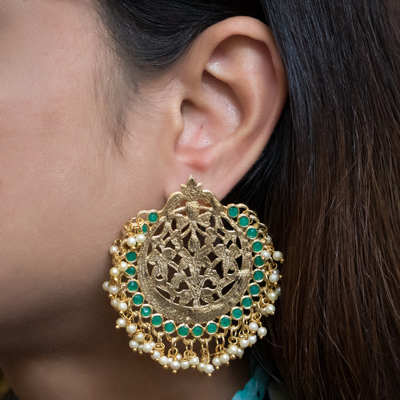 Gold Plated Earrings with Green Stones and Pearls