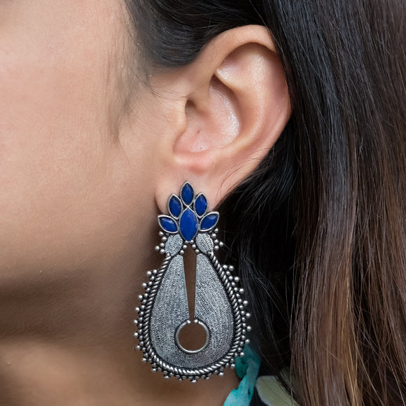 German Silver Earrings with Blue Stones - The Pink Lane