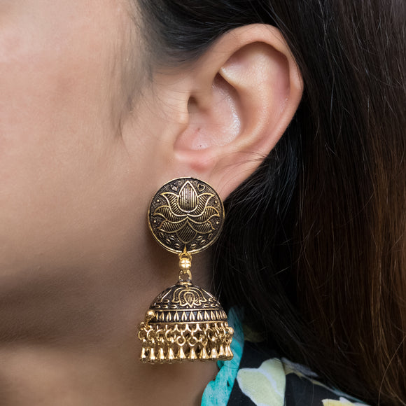 Beautiful Lotus Gold Plated Earrings - The Pink Lane