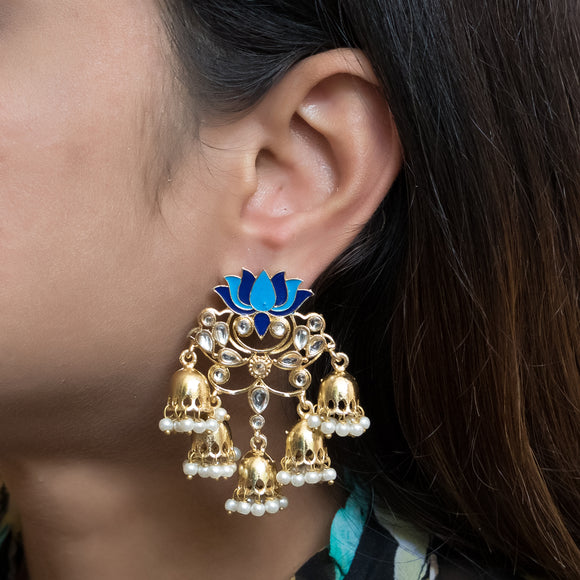 Beautiful Lotus Earrings with Kundan Earrings - The Pink Lane
