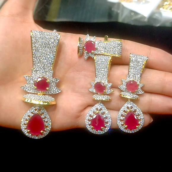 Designer American Diamond Pendant Set for Women With Red Stones