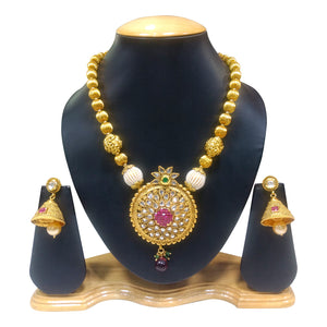 Ethnic Gold Plated Necklace Set with Kundan and Pearls