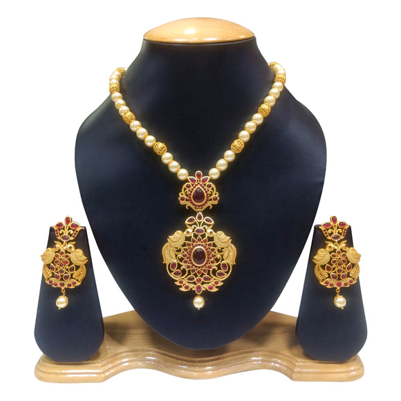 Traditional Gold Plated Necklace Set with Pearls - The Pink Lane