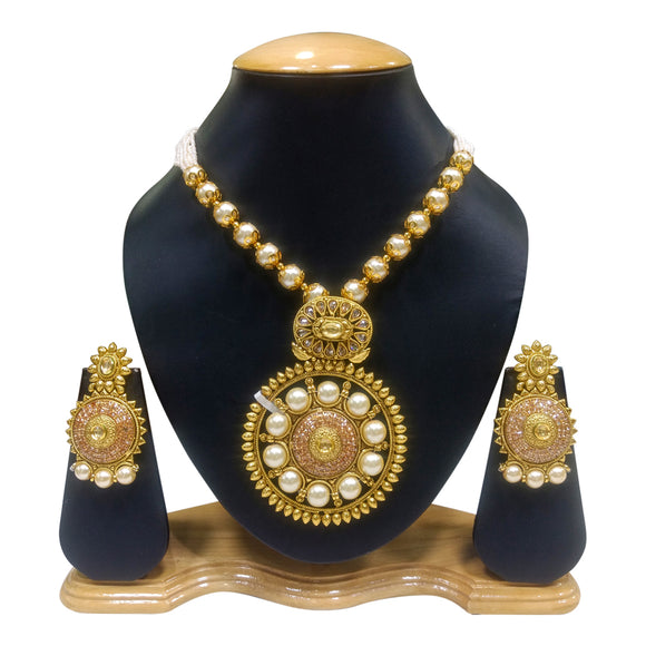 Traditional Gold Plated Necklace Set with Kundan Pearls - The Pink Lane