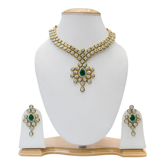 Gold Plated Designer Polki Set with Green Stones - The Pink Lane