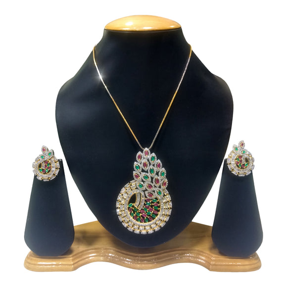 Gold Plated Multi Colored Pendant Set for Women