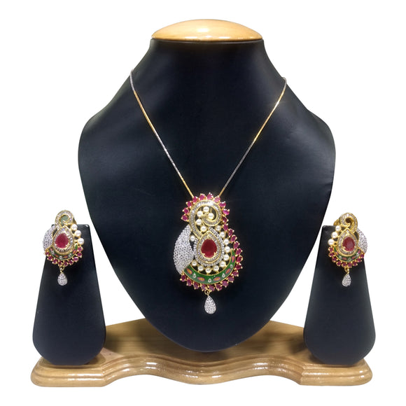 Designer Multicolred Pendent Set for Women - The Pink Lane