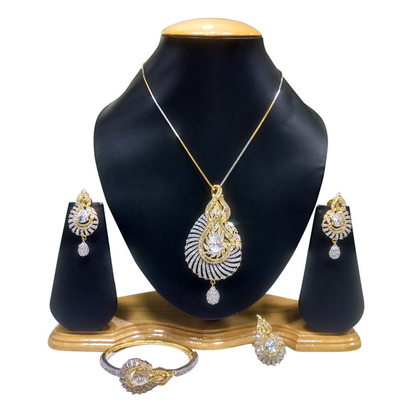 Gold Plated Pendant Set with white Stones - The Pink Lane
