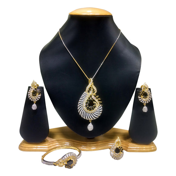 Gold Plated Pendant Set with Black Stones