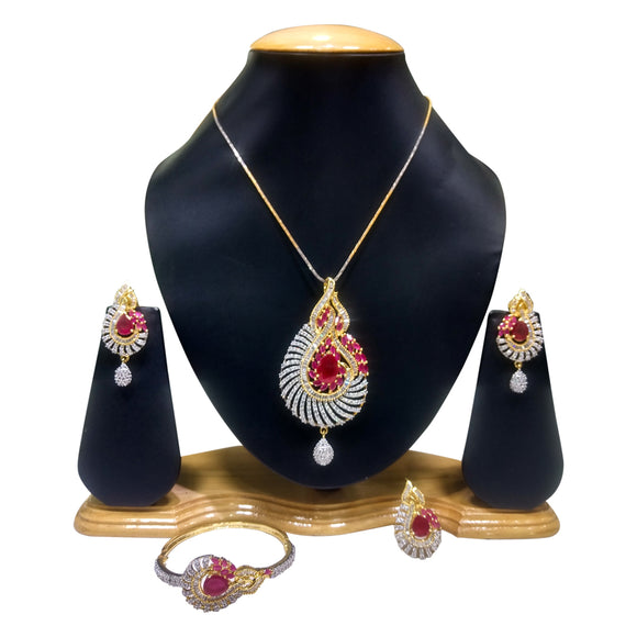 Gold Plated Pendant Set with Red Stones