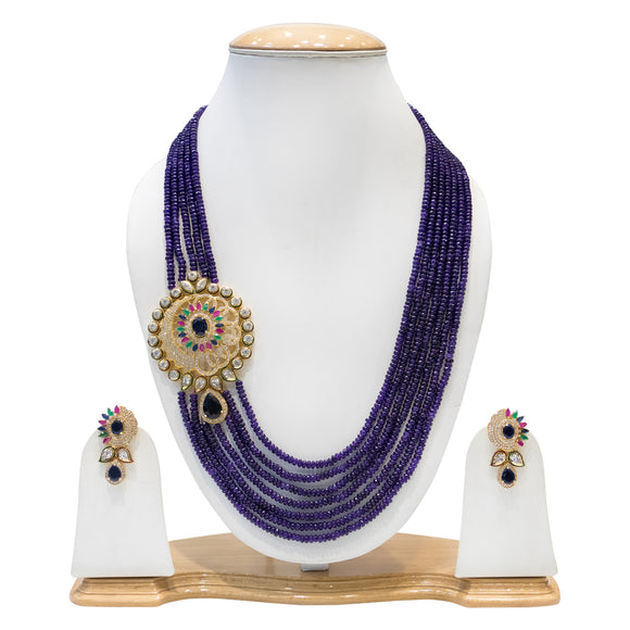 Dark Purple Multisting Kundan Necklace Set for Women - The Pink Lane