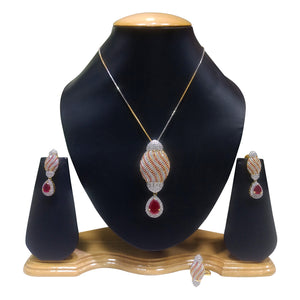 American Diamond Pendant Set for Women with Red Stones - The Pink Lane