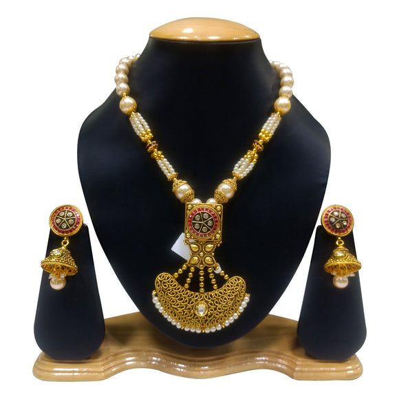 Traditional Gold Plated Necklace set with Pearls