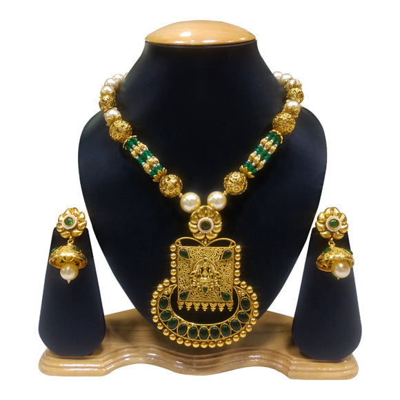 Ethnic Gold and Green Necklace Set with Kundan and Pearls - The Pink Lane
