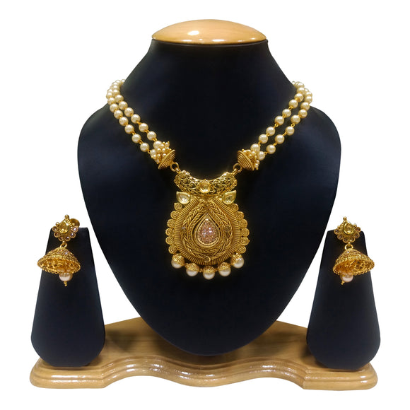Traditional Gold Plated Necklace Set with Kundan work - The Pink Lane