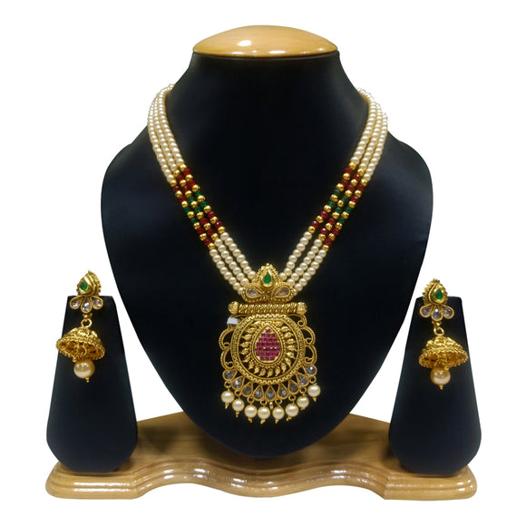 Traditional Gold Plated Multicolored Nacklace Set with Pearls