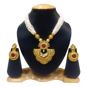 Ethnic Gold Plated Necklace Set with Pearls