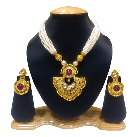 Ethnic Gold Plated Necklace Set with Pearls - The Pink Lane
