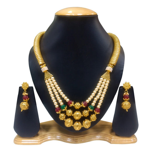 Traditional Gold Plated Multistring Necklace set with Green and Red stones - The Pink Lane