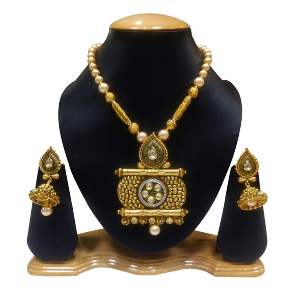Traditional Gold Plated Necklace Set with Kundan and Pearls - The Pink Lane