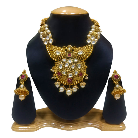 Gold Plated Ethnic Necklace Set with Kundan and Pearls - The Pink Lane