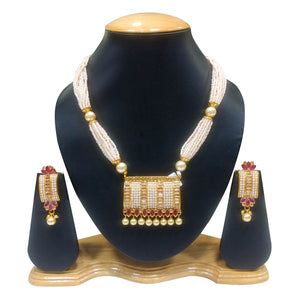 Ethnic Gold Plated Necklace Set with Pearls and Ruby work