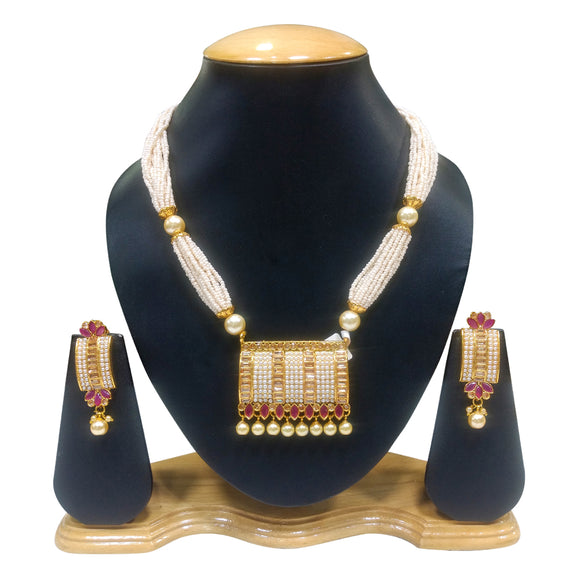 Ethnic Gold Plated Necklace Set with Pearls and Ruby work - The Pink Lane