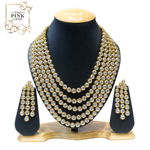 5 String Gold Plated Kundan Necklace Set