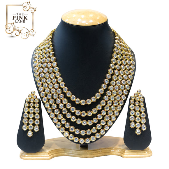 5 String Gold Plated Kundan Necklace Set - The Pink Lane