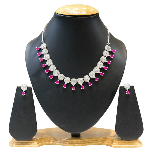 American Diamond & Ruby Necklace Set for Women - The Pink Lane