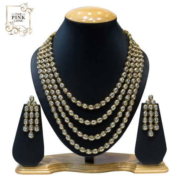 Gorgeous 4 String Gold Plated Kundan Necklace Set - The Pink Lane