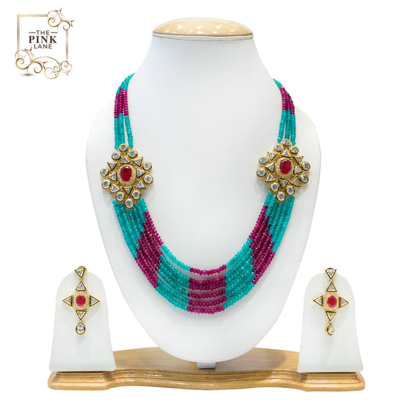 Red and Blue Multisting Kundan Necklace Set for Women