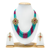 Red and Blue Multisting Kundan Necklace Set for Women - The Pink Lane