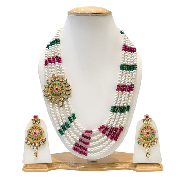 Red, Green,White Pearls MultiString Necklace Set with Kundan Work for Women - The Pink Lane