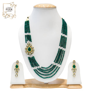 Green, White and Golden Multistring Kundan Necklace Set for Women - The Pink Lane