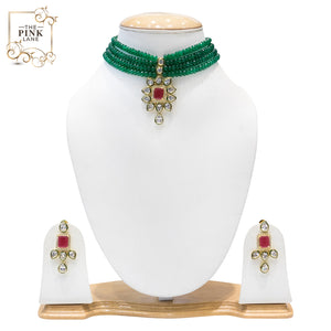 Red, Green and golden Kundan chokar Necklace Set for Women - The Pink Lane