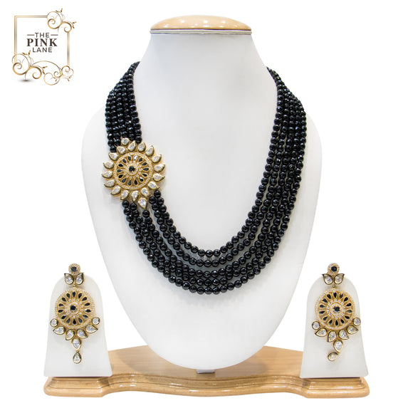 Multistring Black and Golden Kundan Necklace Set for Women