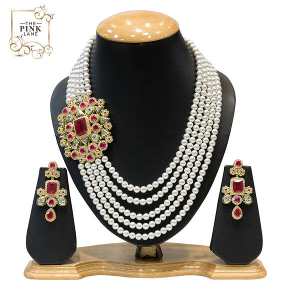 Multisting White Pearls and Gold Kundan Necklace Set for Women - The Pink Lane