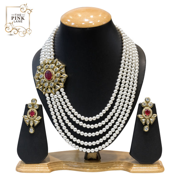 Multistring Pearls Kundan Necklace Set for Women