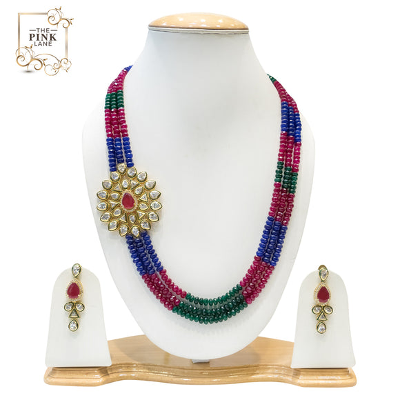 Multicolored Multistring Kundan Necklace Set for Women - The Pink Lane