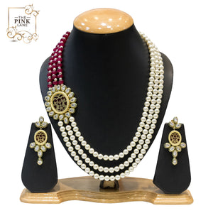 Designer Multistring Necklace Set with Kundan and Pearls - The Pink Lane