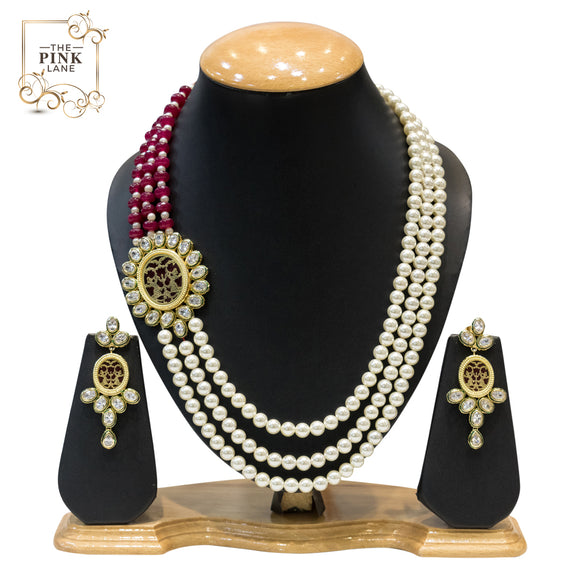 Designer Multistring Necklace Set with Kundan and Pearls