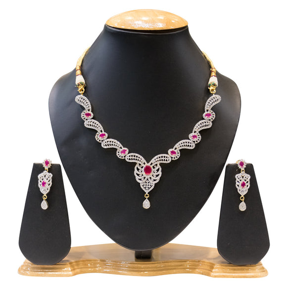 Designer American Diamond Ruby Studded Necklace for Women - The Pink Lane